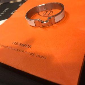 Hermes clic clac h white enamel bracelet